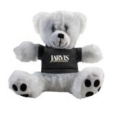 Plush Big Paw 8 1/2 inch White Bear w/Black Shirt-Jarvis Christian College - Institutional Mark
