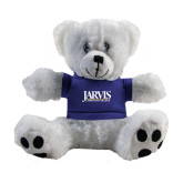 Plush Big Paw 8 1/2 inch White Bear w/Royal Shirt-Jarvis Christian College - Institutional Mark