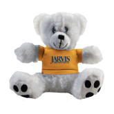 Plush Big Paw 8 1/2 inch White Bear w/Gold Shirt-Jarvis Christian College - Institutional Mark