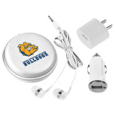 3 in 1 White Audio Travel Kit-Jarvis Chrsitian College Bulldogs w/ Major Stacked