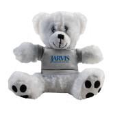Plush Big Paw 8 1/2 inch White Bear w/Grey Shirt-Jarvis Christian College - Institutional Mark