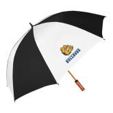 62 Inch Black/White Umbrella-Jarvis Chrsitian College Bulldogs w/ Major Stacked