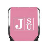 Light Pink Drawstring Backpack-Official Logo