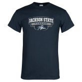 Navy T Shirt-Jackson State Tigers Arched w/ Outline