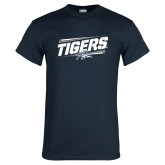 Navy T Shirt-Tigers Slanted w/Tiger