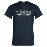 Navy T Shirt-Tigers Football Stacked w/ Ball