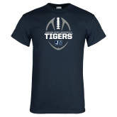 Navy T Shirt-Jackson State University Tigers Football Vertical