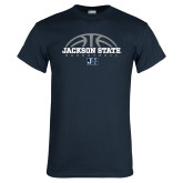 Navy T Shirt-Jackson State Basketball Half Ball