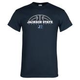 Navy T Shirt-Jackson State Basketball Half Ball