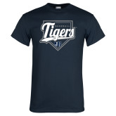 Navy T Shirt-Tigers Baseball w/ Script and Plate
