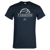 Navy T Shirt-Tigers Volleyball Stacked w/ Ball