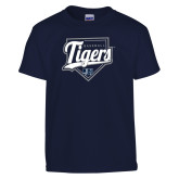 Youth Navy T Shirt-Tigers Baseball w/ Script and Plate