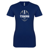 Next Level Ladies SoftStyle Junior Fitted Navy Tee-Jackson State University Tigers Football Vertical