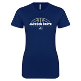 Next Level Ladies SoftStyle Junior Fitted Navy Tee-Jackson State Basketball Half Ball