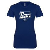 Next Level Ladies SoftStyle Junior Fitted Navy Tee-Tigers Baseball w/ Script and Plate