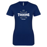 Next Level Ladies SoftStyle Junior Fitted Navy Tee-Tigers Softball w/ Seams