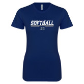Next Level Ladies SoftStyle Junior Fitted Navy Tee-Jackson State Softball Stencil w/ Underline
