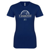 Next Level Ladies SoftStyle Junior Fitted Navy Tee-Tigers Volleyball Stacked w/ Ball
