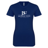 Next Level Ladies SoftStyle Junior Fitted Navy Tee-JSU Jackson State University Stacked