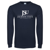 Navy Long Sleeve T Shirt-JSU Jackson State University Stacked