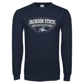 Navy Long Sleeve T Shirt-Jackson State Tigers Arched w/ Outline
