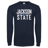 Navy Long Sleeve T Shirt-Jackson State Stacked w/ Logo