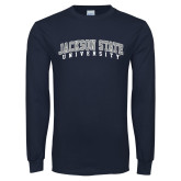 Navy Long Sleeve T Shirt-Arched Jackson State University