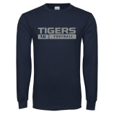 Navy Long Sleeve T Shirt-Tigers Football w/ Bar