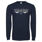 Navy Long Sleeve T Shirt-Tigers Football Stacked w/ Ball