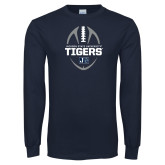 Navy Long Sleeve T Shirt-Jackson State University Tigers Football Vertical