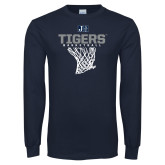 Navy Long Sleeve T Shirt-Tigers Basketball w/ Hanging Net