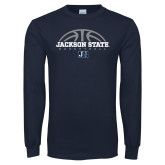 Navy Long Sleeve T Shirt-Jackson State Basketball Half Ball