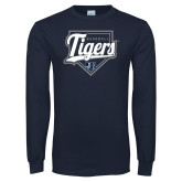 Navy Long Sleeve T Shirt-Tigers Baseball w/ Script and Plate