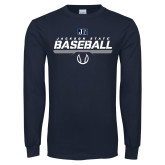 Navy Long Sleeve T Shirt-Jackson State Baseball Stencil w/ Ball