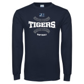 Navy Long Sleeve T Shirt-Tigers Softball w/ Seams