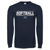 Navy Long Sleeve T Shirt-Jackson State Softball Stencil w/ Underline
