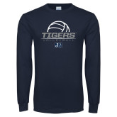 Navy Long Sleeve T Shirt-Tigers Volleyball Stacked w/ Ball