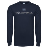 Navy Long Sleeve T Shirt-Volleyball w/ Ball