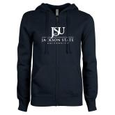 ENZA Ladies Navy Fleece Full Zip Hoodie-JSU Jackson State University Stacked