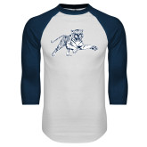 White/Navy Raglan Baseball T-Shirt-Tiger