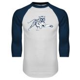 White/Navy Raglan Baseball T-Shirt-Tiger