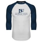 White/Navy Raglan Baseball T-Shirt-JSU Jackson State University Stacked