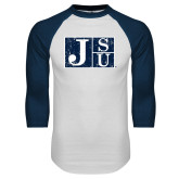 White/Navy Raglan Baseball T-Shirt-Official Logo Distressed