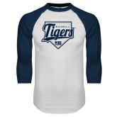 White/Navy Raglan Baseball T-Shirt-Tigers Baseball w/ Script and Plate