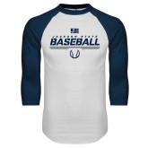 White/Navy Raglan Baseball T-Shirt-Jackson State Baseball Stencil w/ Ball