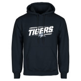 Navy Fleece Hoodie-Tigers Slanted w/Tiger