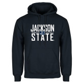 Navy Fleece Hoodie-Jackson State Stacked w/ Logo