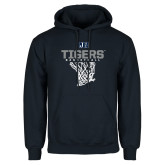 Navy Fleece Hoodie-Tigers Basketball w/ Hanging Net
