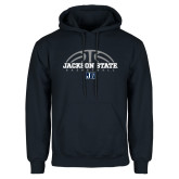 Navy Fleece Hoodie-Jackson State Basketball Half Ball