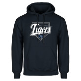 Navy Fleece Hoodie-Tigers Baseball w/ Script and Plate